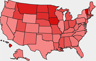 [This image shows a baby name popularity map for the most popular name in the USA: Emily]